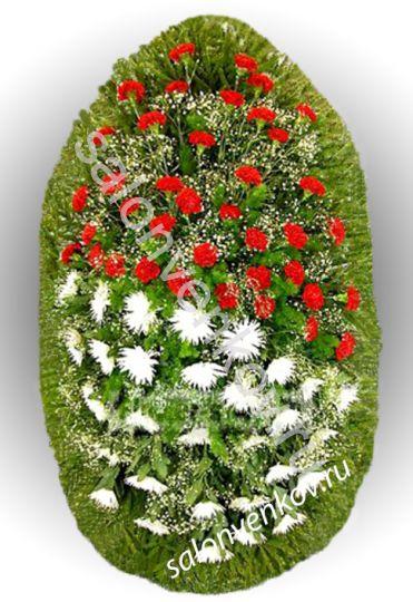 Элитный траурный венок из живых цветов №13, РАЗМЕР 100см,120см,140см,170см