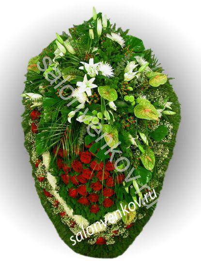 Элитный траурный венок из живых цветов №14, РАЗМЕР 100см,120см,140см,170см