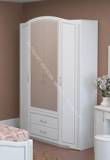 Шкаф для одежды с ящиками (с зеркалом) Виктория Белый глянец