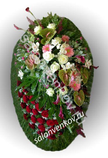 Элитный траурный венок из живых цветов №15, РАЗМЕР 100см,120см,140см,170см