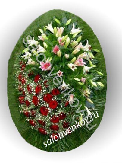 Элитный траурный венок из живых цветов №16, РАЗМЕР 100см,120см,140см,170см