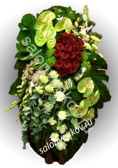 Элитный траурный венок из живых цветов №17, РАЗМЕР 100см,120см,140см,170см