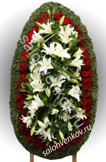 Элитный траурный венок из живых цветов №18, РАЗМЕР 100см,120см,140см,170см