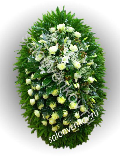 Элитный траурный венок из живых цветов №20, РАЗМЕР 100см,120см,140см,170см