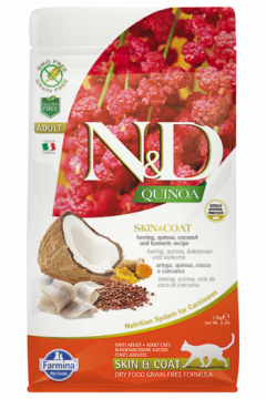 N&D Cat Quinoa Skin&coat Herring (Сельдь, киноа, кокос и куркума. Здоровье кожи и шерсти.)