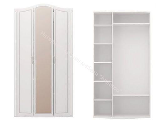 Шкаф для одежды 3-х дверный (с зеркалом) Виктория Белый глянец