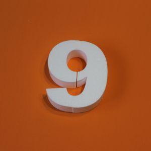 "Цифра ""9"" 20 см, пенопласт (1уп = 2шт)"