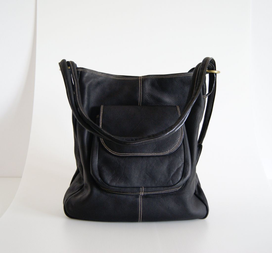 BUFALO TRJ-02 BLACK кожаная сумка-рюкзак-трансформер