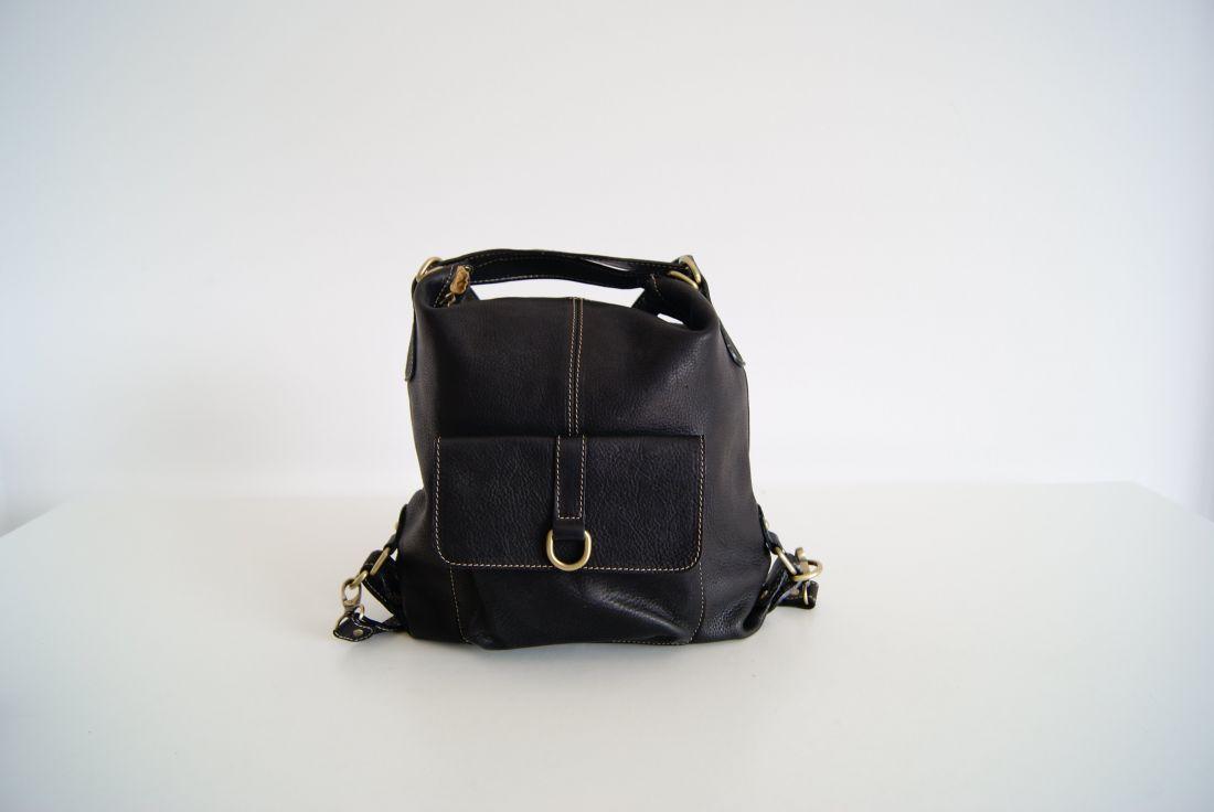 BUFALO TR-04 BLACK кожаная сумка-рюкзак-трансформер