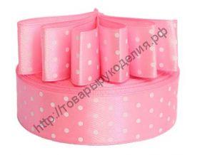 лента атласная 40мм в горох розовая