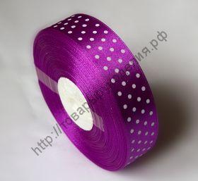 лента атласная 25мм в горох фиолетовая