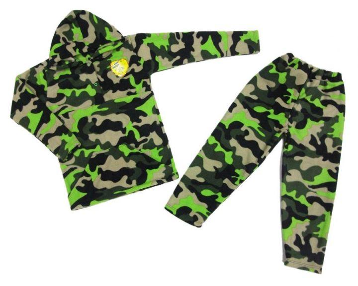 Костюм: толстовка с капюшон и карманами, штаны dC-KS073(k)-FL (флис камуфляж)