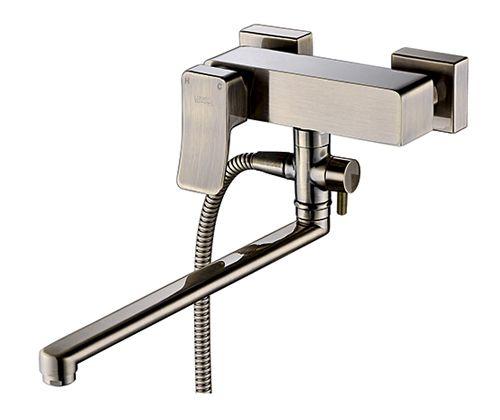 """Смеситель для ванны с длинным поворотным изливом 350 мм WasserKRAFT Exter 1602L """"светлая бронза"""""""