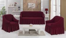 "Набор чехлов для дивана ""BULSAN"" + 2 кресла  (бордовый) Арт.1799-5"