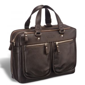 Вместительная деловая сумка с двумя отделениями BRIALDI Arce (Арчи) relief brown