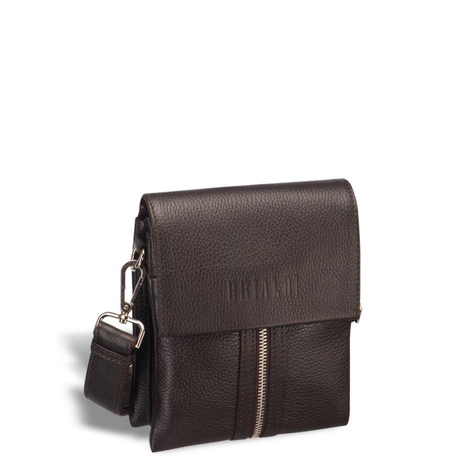 Вертикальная сумка mini-формата через плечо BRIALDI Campi (Кампи) relief brown
