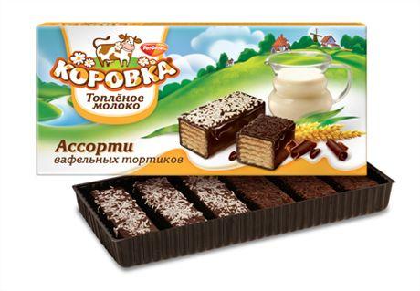 Торт Коровка топлёное молоко вафельное ассорти 200гр