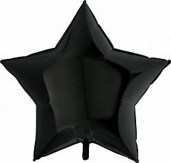 Большая черная звезда шар фольгированный с гелием