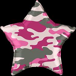 Звезда камуфляж, хаки, милитари розовый шар фольгированный с гелием