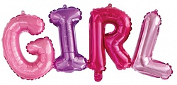 Надпись GIRL (Девочка) на выписку из шаров с воздухом