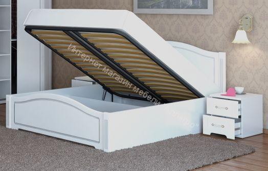 Кровать Виктория двойная 160*200 см с П/Мех. Белый глянец