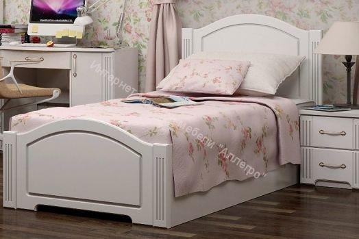 Кровать Виктория одинарная 90*200 см с латами  Белый глянец