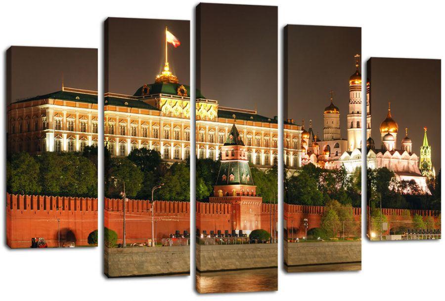 Модульная картина Московский кремль ночью