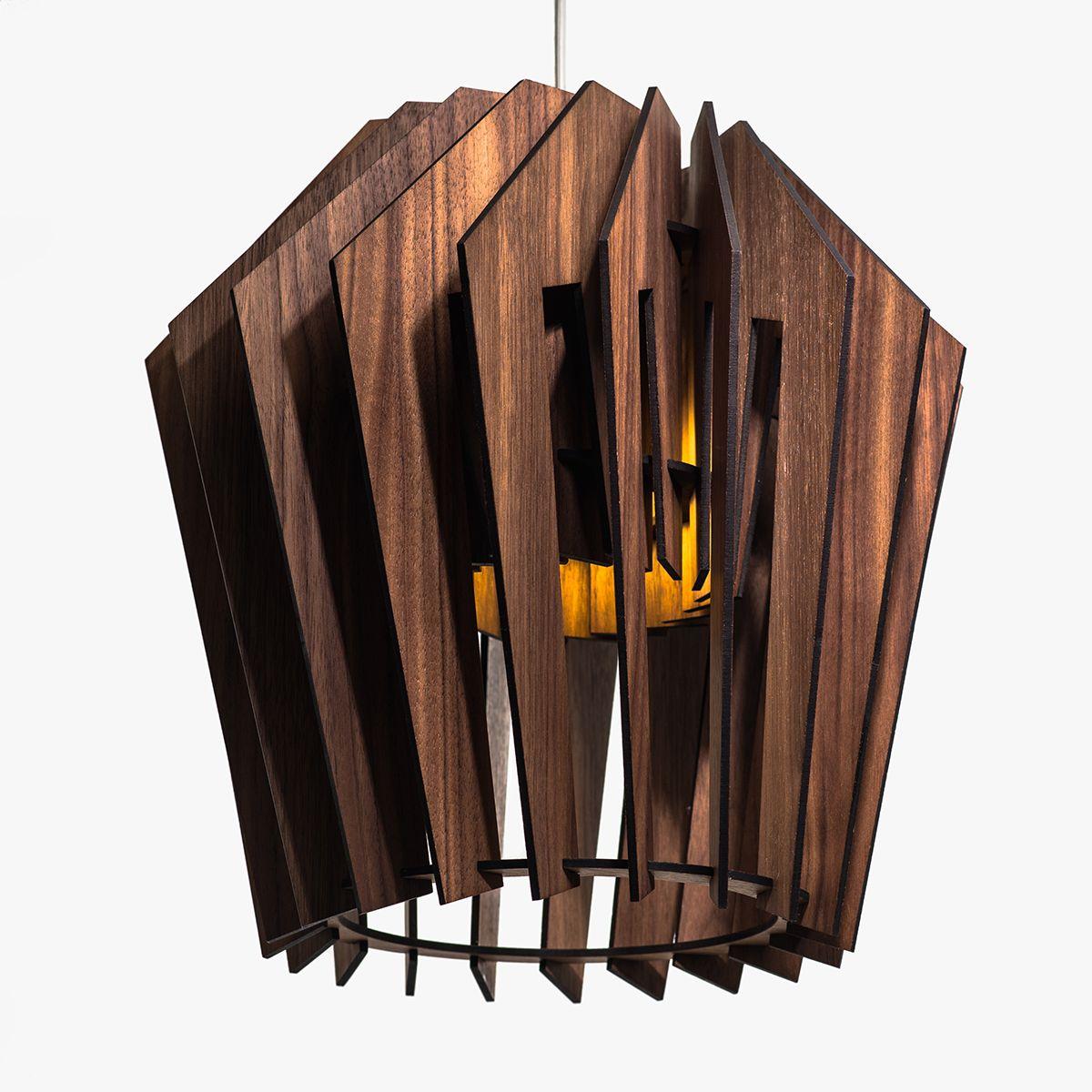 Турболампа из ореха, большая (подвесной/настольный светильник)