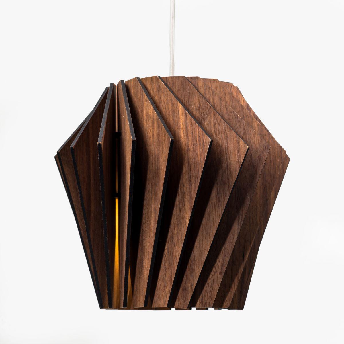 Турболампа из ореха, средняя (подвесной/настольный светильник)