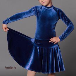 Бархатное платье для бальных танцев синее