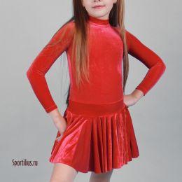 Платье детское, бархат красный