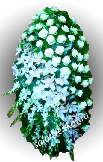 Элитный траурный венок из живых цветов №23, РАЗМЕР 100см,120см,140см,170см