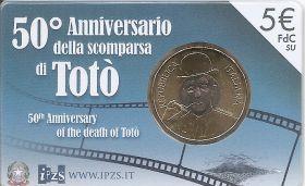 50 лет со дня смерти Антонио Клементе - комика ТОТО  5 евро Италия 2017 на заказ