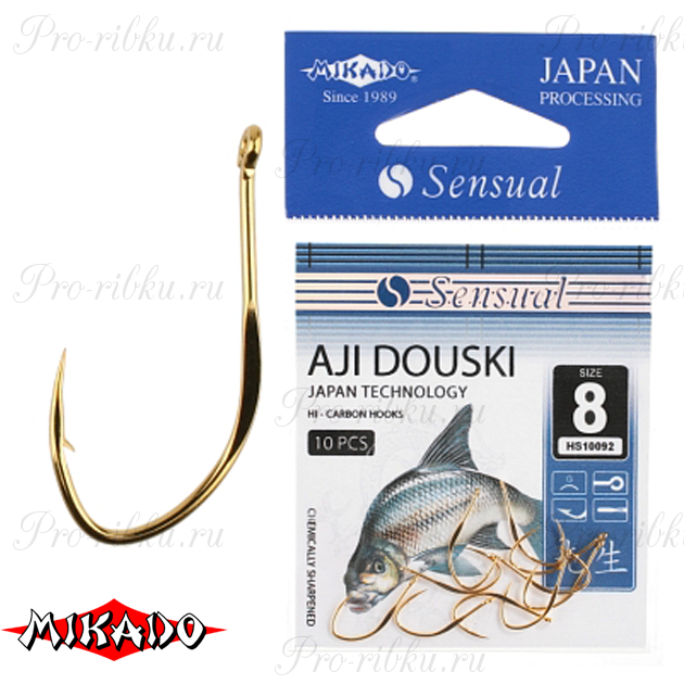 Крючки Mikado SENSUAL - AJI DOUSKI W/RING № 12 G (с ушком) уп.=10 шт., упак