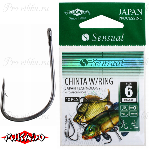 Крючки Mikado SENSUAL - CHINTA W/RING № 12 BN (с ушком) уп.=10 шт., упак