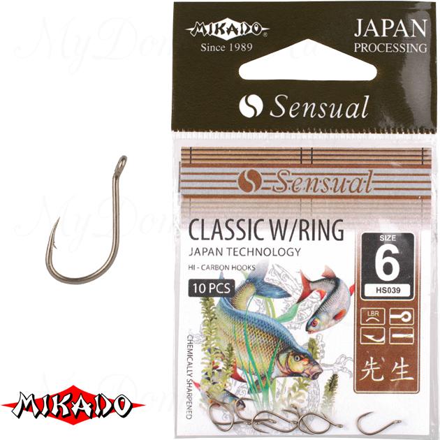 Крючки Mikado SENSUAL - CLASSIC W/RING № 16 LBR (с ушком) уп.=10 шт., упак