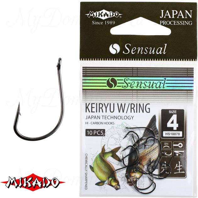 Крючки Mikado SENSUAL - KEIRYU W/RING № 10 RED (с ушком) уп.=10 шт., упак