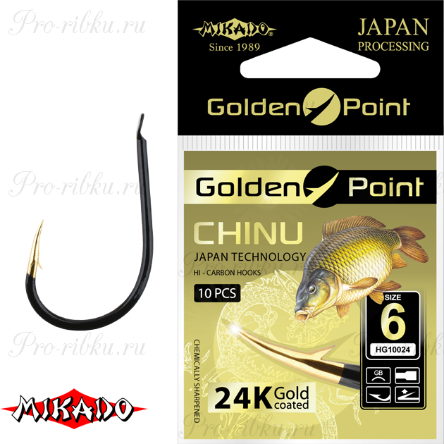 Крючки Mikado GOLDEN POINT - CHINU №  8 GB (с лопаткой) уп.=10 шт., упак