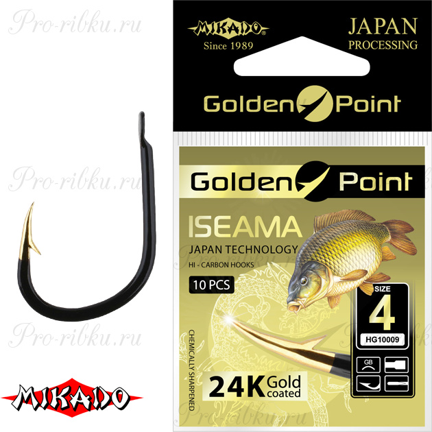 Крючки Mikado GOLDEN POINT - ISEAMA №  4 GB (с лопаткой) уп.=10 шт., упак