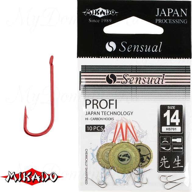 Крючки Mikado SENSUAL - PROFI № 16 RED (с лопаткой) уп.=10 шт., упак
