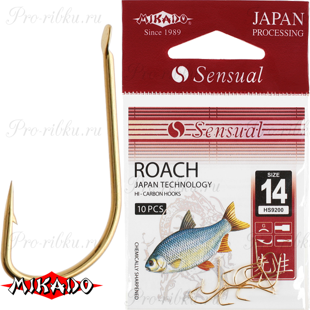 Крючки Mikado SENSUAL - ROACH № 10 G (с лопаткой) уп.=10 шт., упак