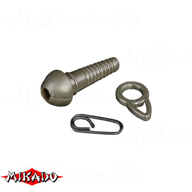 Клипса для карповых грузил Mikado (коричневый) AMC-9057-07  уп.=5 шт., упак