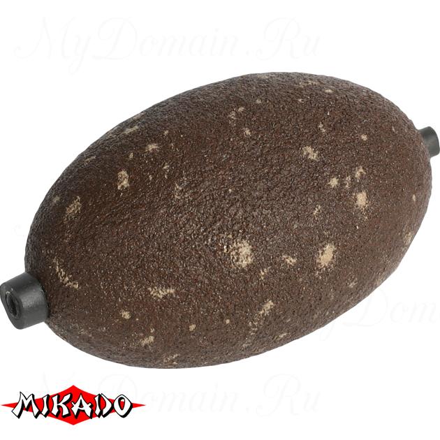 Грузило для ловли сома Mikado сквозное, круглой формы (коричневый) 46BR  100 г., упак