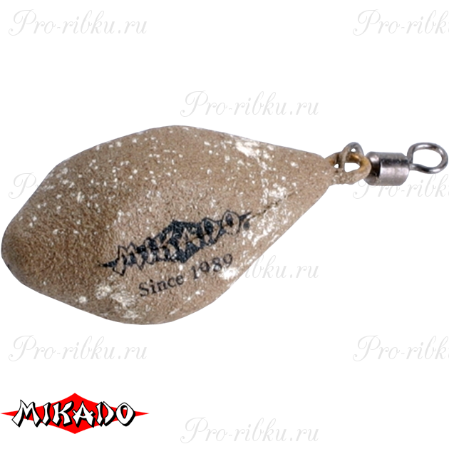 Грузило карповое Mikado с вертлюжком. дальний заброс (песочный) 04S  100 г.  уп.=10 шт., упак