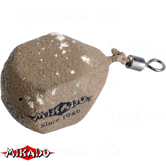Грузило карповое Mikado с вертлюжком. кубические (песочный) 05S  90 г.  уп.=10 шт., упак