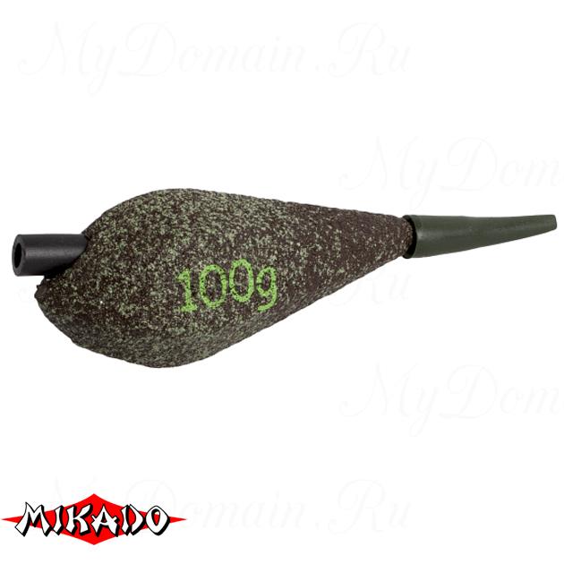 Грузило карповое сменное Mikado асимметричное (тёмно-зелёный) 22G  100 г.  уп.=10 шт., упак