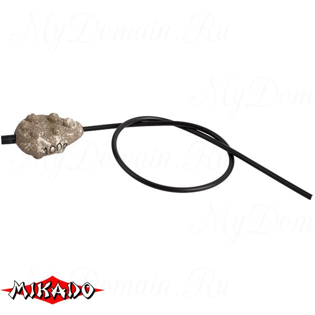 Грузило карповое сменное Mikado скользящее с антизакручивателем. плоское (песочный) 24S  60 г.  уп.=, упак