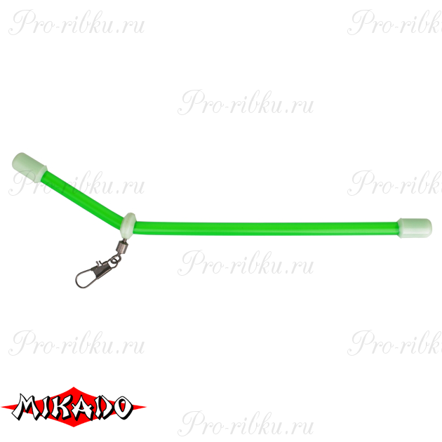 Трубка - антизакручиватель Mikado с вертлюжком и карабином M зелёная 15 см.  уп.=10 шт., упак