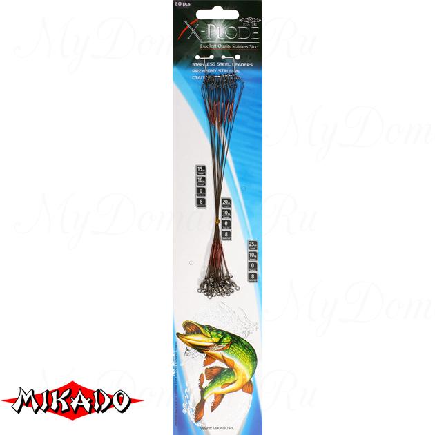 Поводок стальной Mikado X-Plode с вертлюжком и застёжкой 15 см., 10 кг. блистер. (уп.=20 шт.), упак