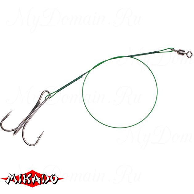 Поводок стальной Mikado X-Plode с вертлюжком и крючком 15/20/25 см., 10 кг. блистер. (уп.=30 шт.)_, упак